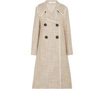 Doppelreihiger Mantel Aus Tweed Mit Kunstlederbesatz -
