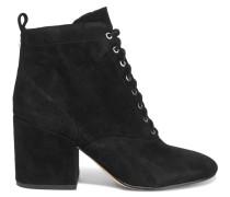 Tate Ankle Boots Aus Veloursleder Mit Schnürung - Schwarz