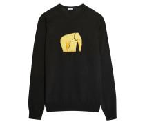 Pullover Aus Einer Wollmischung Mit Intarsienmotiv - Schwarz