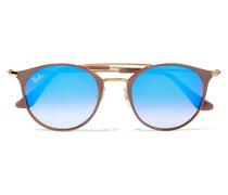 Sonnenbrille Mit Rundem Rahmen Aus Azetat Und Goldfarbenen Details - Blau
