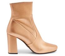 Ankle Boots Aus Strukturiertem Metallic-leder - Gold