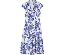 Jane Kleid Aus Baumwollpopeline Mit Blumendruck - Blau