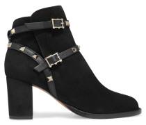 Rockstud Ankle Boots Aus Veloursleder Mit Lederbesatz -