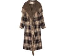 Mantel Aus Einer Karierten Woll-baumwollmischung Mit Fransen -