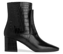 Ankle Boots Aus em Leder Mit Krokodileffekt