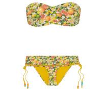 Bedruckter Bandeau-bikini Mit Mesh-einsatz - Gelb