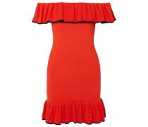 Capri Schulterfreies Minikleid Aus Stretch-strick Mit Rüschen -