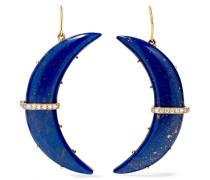Crescent Moon Ohrringe aus 14 Karat  mit Lapislazuli und Diamanten