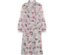 Aubrey drapiertes Kleid aus Crêpe de Chine aus Seide mit Blumenprint