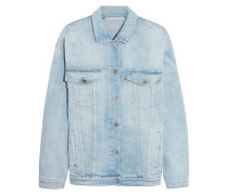 Oversized-jacke Aus Stretch-denim In Distressed-optik - Heller Denim
