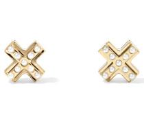 Goldfarbene Ohrringe Mit Kunstperlen