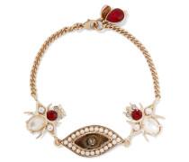 Goldfarbenes Armband Mit Swarovski-kristallen Und Kunstperlen