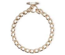 Chain Halsreif aus vergoldetem Messing mit Marmor