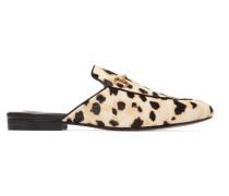 Princetown Slippers Aus Kalbshaar Mit Leopardenprint Und Horsebit-detail -