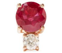 Ohrring Aus 18 Karat  Mit Rubin Und Einem Diamanten