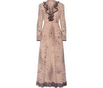 Bedruckte Robe Aus Georgette Aus Stretch-seide Mit Spitzenbesatz -