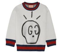 Sweatshirt Aus Bedrucktem Neopren Mit Metallic-besatz - Hellgrau
