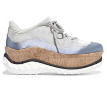 Sneakers Aus Satin, Mesh Und Kork Mit Plateau - Hellgrau