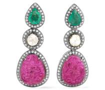 Ohrringe Aus 18 Karat  Und Silber Mit Mehreren Steinen