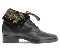 Ankle Boots Aus Samt Und Leder Mit Verzierung - Schwarz