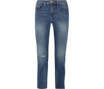 Le Boy Hoch Sitzende Jeans Mit Schmalem Bein In Distressed-optik -