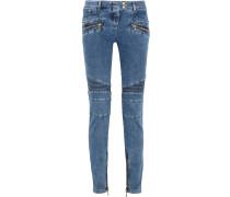 Halbhohe Skinny Jeans Im Biker-stil - Blau