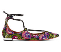 Christy Bestickte Flache Schuhe Aus Canvas Mit Spitzer Kappe - Lila