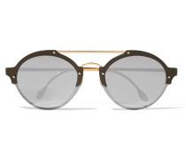 Malpensa Verspiegelte Sonnenbrille Mit Rundem Rahmen Aus Azetat Mit Goldfarbenen Details -