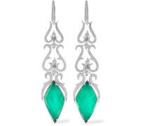 Belle Epoque Ohrringe Aus 18 Karat Weißgold Mit Diamanten Und Achaten
