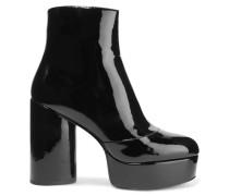 Amber Ankle Boots Aus Lackleder Mit Plateau - Schwarz