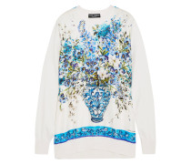 Bedrucktes Sweatshirt Aus Seidensatin Und Seidenstrick -