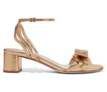 Sandalen Aus Strukturiertem Metallic-leder - Gold
