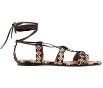 Verzierte Sandalen aus bemaltem, strukturiertem Leder