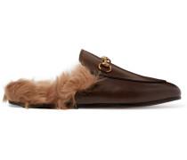 Slippers aus Leder mit Shearling-Futter und Horsebit-Detail