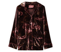 Rea Pyjama-oberteil Aus Samt Mit Floralem Print -