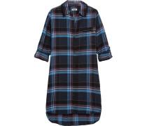 Kariertes Nachthemd Aus Einer Baumwollmischung Mit Jersey-einsätzen - Blau