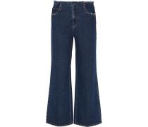Verkürzte Hochsitzende Jeans Mit Weitem Bein - Dunkler Denim