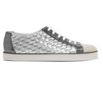 Sneakers Aus Strukturiertem Leder Mit Intrecciato-muster Und Velourslederbesatz -