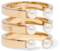 Darcey vergoldeter Ring mit Swarovski-Perlen