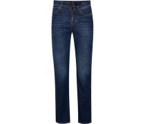 Hoch Sitzende Jeans Mit Schmalem Bein Und Stickerei -