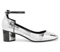 Belle Gestreifte Metallic-pumps Aus Wasserschlangenleder - Silber