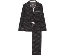 Pyjama Aus Bedrucktem Satin - Schwarz