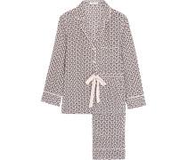 Landon Bedruckter Pyjama Aus Vorgewaschener Seide - Puder