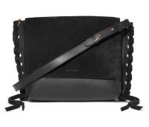 Asli Schultertasche aus Leder und Veloursleder mit Details im überwendlichstich -