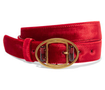 Verzierter Taillengürtel Aus Samt - Rot