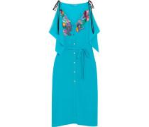 Kleid Aus Crêpe De Chine Aus Seide Mit Verzierungen Und Stickereien - Türkis