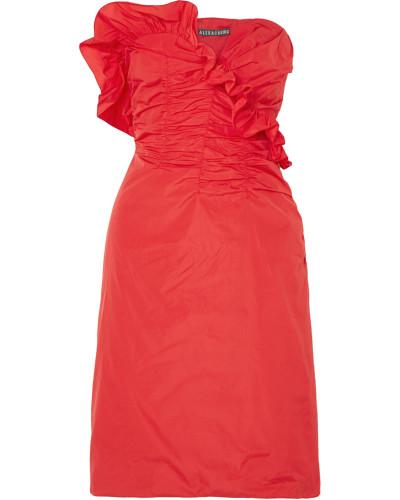 Kleid aus Taft mit Raffungen und Volants