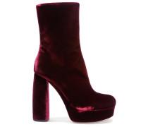 Ankle Boots Aus Samt Mit Lederbesatz - Bordeaux