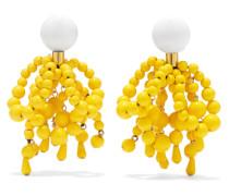 Goldfarbene Ohrclips mit Emaille und Harz -
