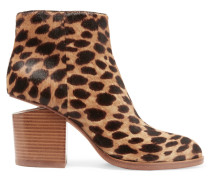Gabi Ankle Boots Aus Kalbshaar Mit Leopardenprint Und Cut-out - Leoparden-Print
